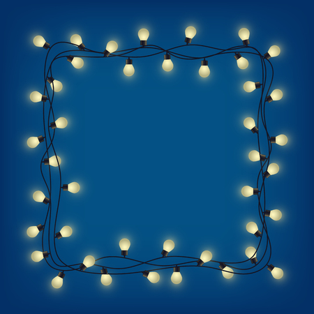 Glowing garland frame, decorative light garland, square place for text with shining lamps, lighting bounding box and border, vector illustration 免版税图像