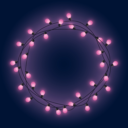Garland frame with pink glowing lamps, decorative pink lights garland, round place for text with shining lamps, lighting bounding box and border, vector illustration 免版税图像