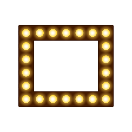 Square frame with lamps, place for text or photo with lighting bulbs, decorative glowing bounding box and border, vector illustration