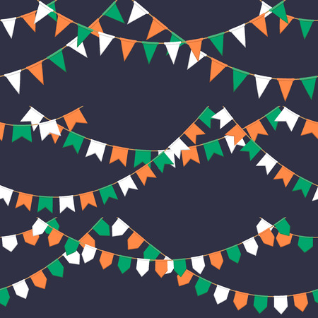 Set of garland with celebration flags chain, green, white, orange pennons on dark background, footer and banner for celebration