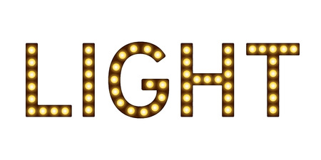 Letters with lamps, lighting bulbs imitation, word light with lamps, glowing sign