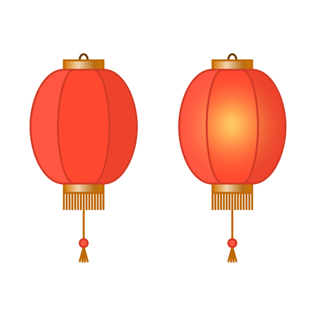 Red Chinese traditional paper lantern with light inside, fairy lights, asian lamps, vector illustration 免版税图像