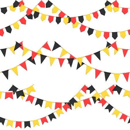 Set of garland with celebration flags chain, black, yellow, red pennons with no background, footer and banner for celebration