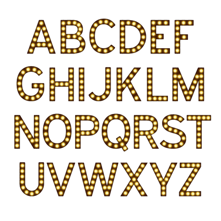 Alphabet with light bulbs, letters with lamps, lamp font, glowing letters imitation, vector illustration 免版税图像