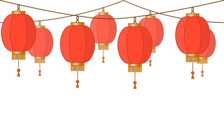Garland with Chinese lantern chain, red asian traditional paper lamps without background, fairy lights, footer and banner for decoration, vector illustration