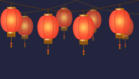 Garland with Chinese lantern chain, red asian traditional paper lamps on dark background, fairy lights, footer and banner for decoration, vector illustration 免版税图像