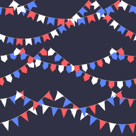 Set of garland with celebration flags chain, white, blue, red pennons on dark background, footer and banner for celebration