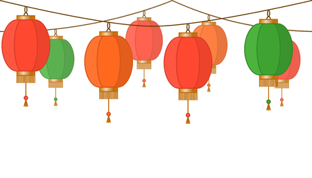 Chinese lantern garland, colorful asian traditional paper lamps chain with no background, fairy lights, footer and banner for decoration, vector illustration