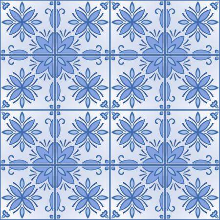 Seamless background with tilework, blue tales wallpaper, azulejo vector illustration Vector Illustratie