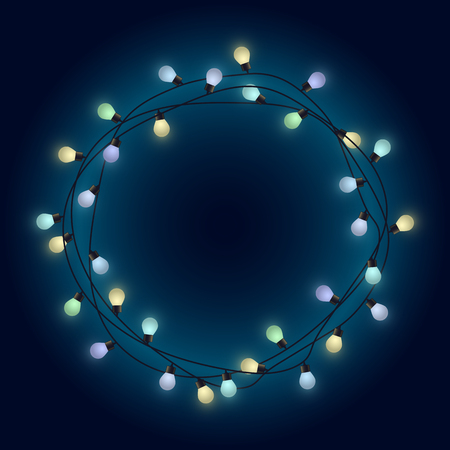 Light lamps garland wreath, front door fairy lights wreath, round place for text with shining bulbs, lighting bounding box and border, vector illustration, eps 10