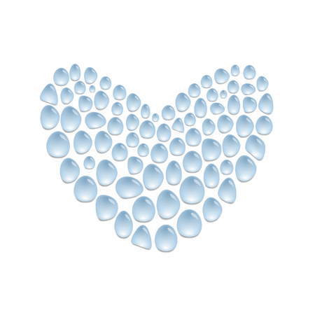 Heart made from water drops on surface, love illustration concept, heart shape, vector