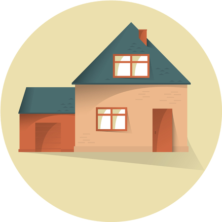 House with garage flat illustration, flat with shadows vector 矢量图像