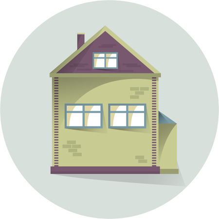 House flat illustration, flat home exterior with shadows, vector illustration 矢量图像