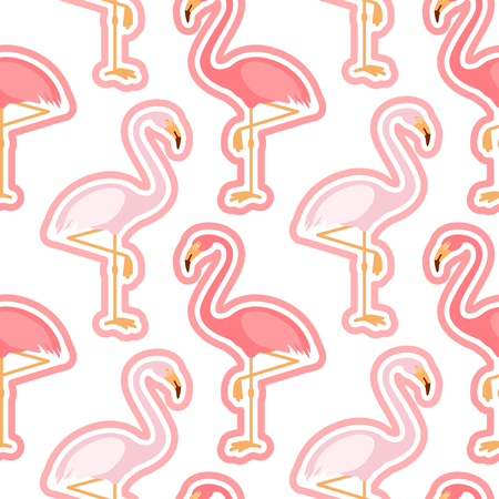 Seamless pattern with pink flamingo, flamingo figure with outline, trend background, vector 矢量图像