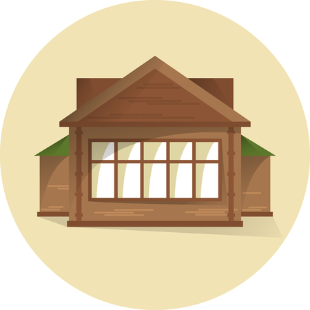 Wooden house with big window, building facade, semi flat style with shadows, vector 矢量图像