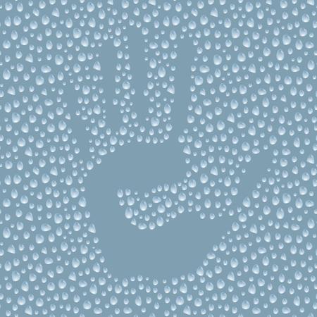 Hand print on steamy surface, hand silhouette stamp on water drops, vector illustration