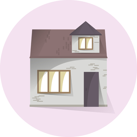 Brick private house, building facade, semi flat style with shadows, vector illustration 矢量图像