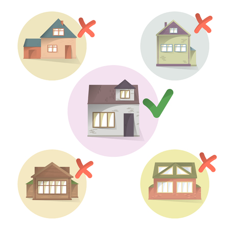 Choosing right house for living, compare different houses and property, making a choice, select and tick home, vector