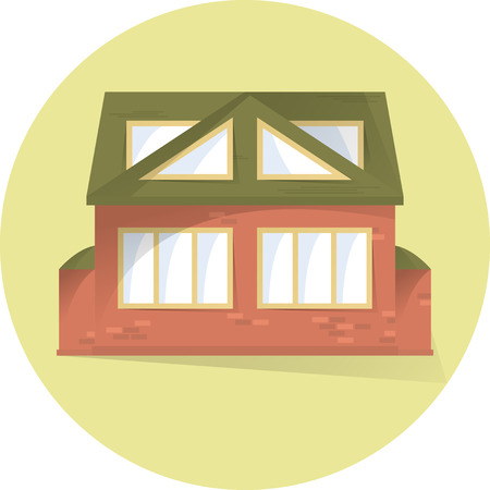 Brick private house, building facade, semi flat style with shadows, vector illustration, home icon