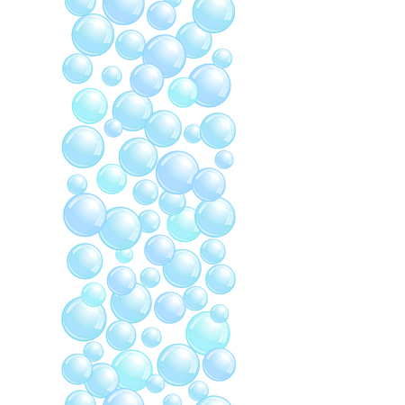 Vertical decorative line with soap bubbles, background with realistic water beads, pink blobs, vector foam sphere illustration