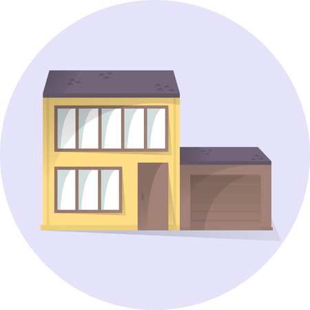 House with garage flat illustration, building facade, semi flat style with shadows, vector home icon