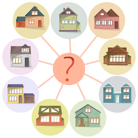 Choosing house, comparing property to buy or rent, vector concept Illustration
