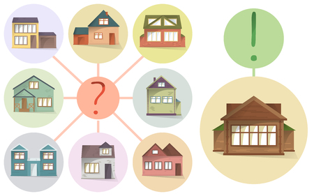 Choosing right house, compare different houses and property to buy or rent, vector concept, making a choice, vector illustration