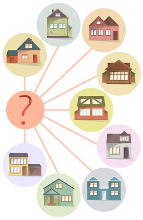 Choosing house, comparing property to buy or rent, vector concept 矢量图像