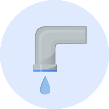 Cold water icon, water tap simple semi-flat vector illustration