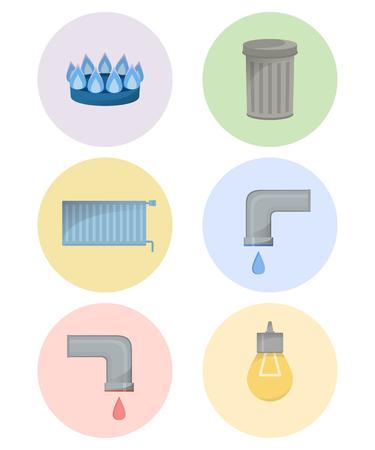 Différents types de services publics, ensemble d'icônes d'installations, illustration vectorielle de services municipaux, eau froide et chaude, déchets, gaz, électricité, chauffage Vecteurs