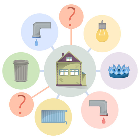 Paying utilities bills, hidden charges, unclear and unobvious expenditure, flat diagram with house and facilities types, vector Illustration