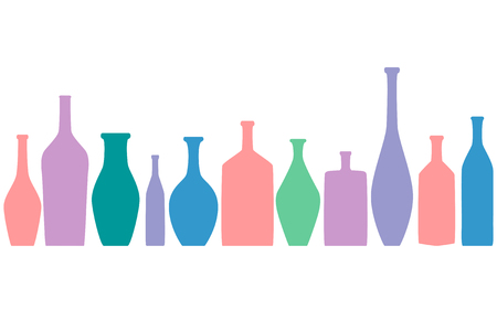Bright colored bottles in a row, different type of bottles collection, horizontal flat decoration 矢量图像