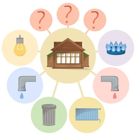 Paiement des factures de services publics, frais cachés, dépenses peu claires et non évidentes, diagramme plat avec les types de maison et d'installations, image vectorielle Vecteurs