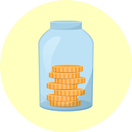 Glass jar icon with coins inside, bank with money, saving money concept, vector illustration Ilustrace