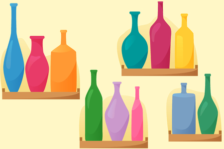 Bright bottles on shelfs, seamless pattern with bottles, flat style decoration, vector illustration