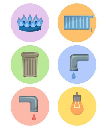 Différents types de services publics, ensemble d'icônes d'installations, illustration vectorielle de services municipaux, eau froide et chaude, déchets, gaz, électricité, chauffage