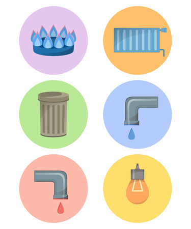 Different types of utilities, facilities icon set, municipal services vector illustration, cold and hot water, trash, gas, electricity, heating