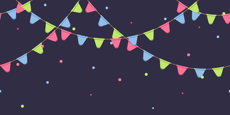 Seamless garland with celebration flags chain, pink, blue, green pennons with confetti on dark background, footer and banner for decoration Ilustracje wektorowe