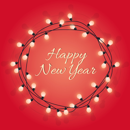 Happy New Year sign in glowing bulb wreath, decorative light lamp garland, nice greeting card, vector illustration Archivio Fotografico - 110360616