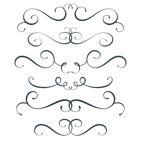 Vector flourish set, scroll collection, curl decoration elements, vintage top and bottom decor, isolated