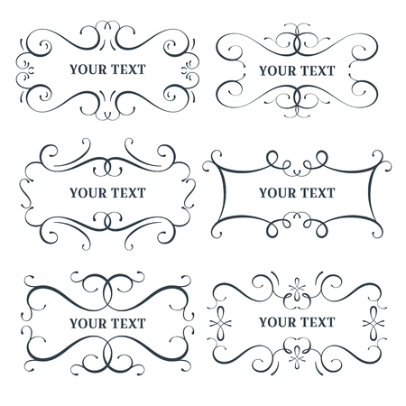 Vector flourish frames set, scroll border collection, place for text and sign, curl decoration elements, vintage divider decor, isolated