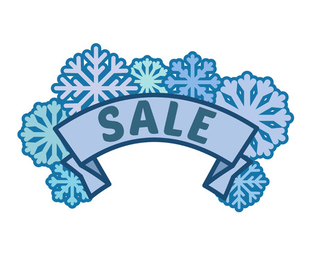 Winter sale sign on ribbon with blue snowflakes without background, discount footer and banner, vector