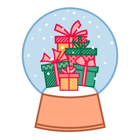 Colorful gift boxes in christmas snowball, new year presents in crystal ball, christmas decoration, vector linear art 矢量图像