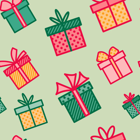 Seamless pattern with Christmas gifts, colorful background with present boxes, seasonal winter holiday wallpaper, vector illustration