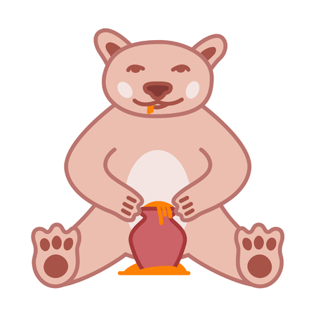Brown bear eats honey from pot, cute naive vector illustration with outline 矢量图像
