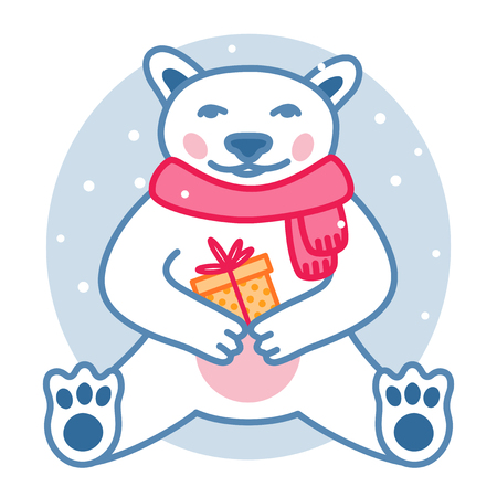 Polar bear with wrapped present box wears red scarf, Christmas cute character. vector illustration