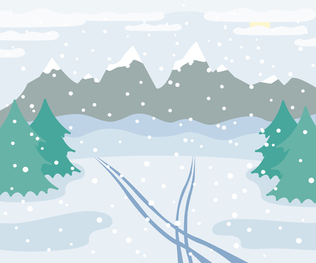Snowy winter mountains landscape with ski tracks on snow, spruce trees, forest and hills, winter outdoor view with traces, countryside nature illustration, vector