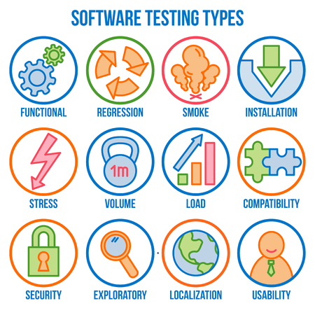 Icon set with types of software testing, linear icons, vector Illusztráció