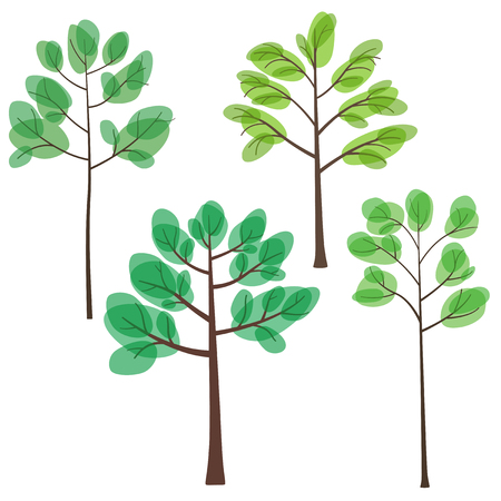set of trees with green leaves, trees in summer, flat style, vector illustration