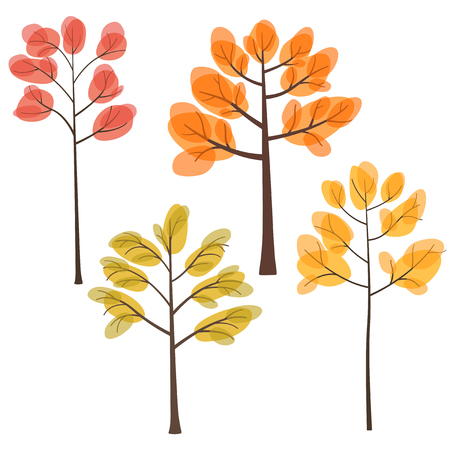 set of fall trees with yellow, orange and red leaves, trees in autumn, flat style, vector illustration 矢量图像